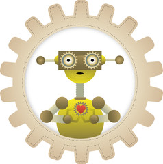 Yellow Robot Gripping Gear Heart