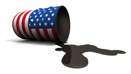 Leaking Oil Drum with USA Flag Texture