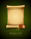 old blank paper script background with stamp vector