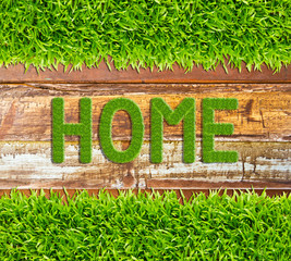 green grass home word on wood background