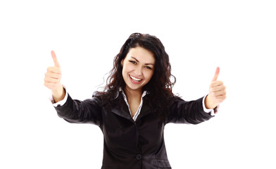 Happy successful business woman making ok sign