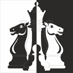 Chess, two horses, Queen and pawn
