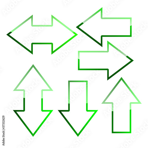 Green outline arrows collection