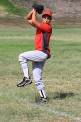 Baseball pitcher stands ready to throw