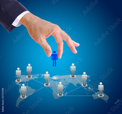 business man hand choosing people from social network