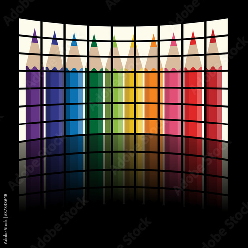 vector lcd tv panels - rainbow crayons