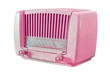 vintage pink radio isolated with clipping path