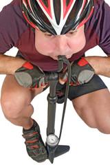 Cyclist inflate himself