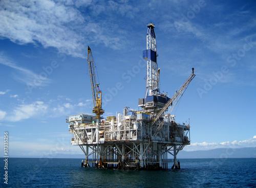 Leinwanddruck Bild Offshore Oil Rig Drilling Platform
