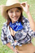 woman with cowboy hat ..