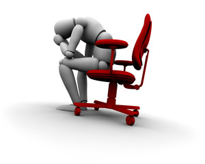 Sad Person Sitting on Office Chair
