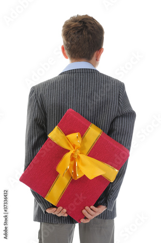 boy with a gift box and a flower