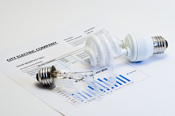 Energy efficient  bulb on electric bill.