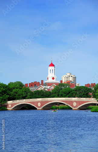 Boston Harvard University campus with Bridge