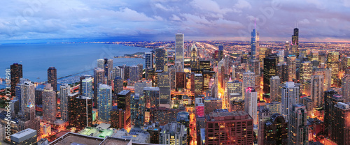 Poster Chicago Chicago skyline panorama aerial view