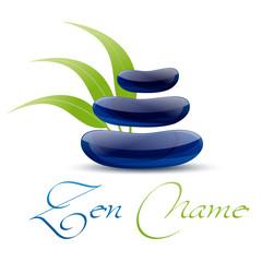 logo galet zen et feuille de bambou