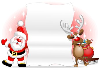 Babbo Natale e Renna Sfondo-Santa Claus and Reindeer Background