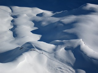 Gipfelblick auf Skitourengruppe