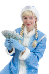 girl in christmas costume of Snegurochka with sheaf of money