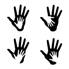 Set of Helping hands, abstract illustrations