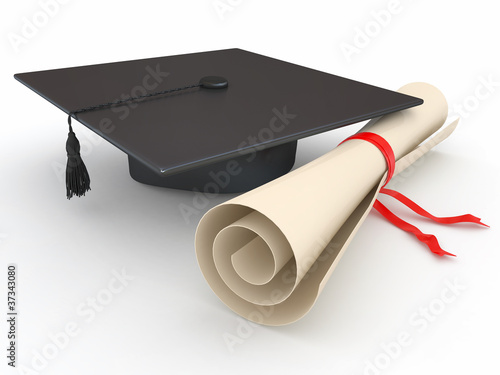 Graduation. Mortarboard and diploma. 3d