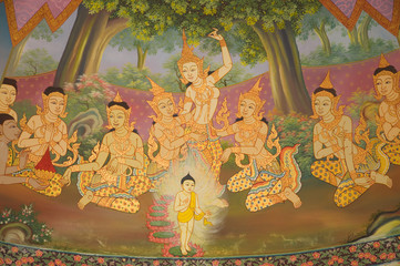 Painted on temple wall about buddha's biography