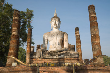 ancient buddha image statue at Sukhothai historical park