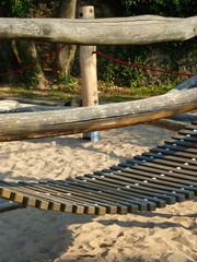 Wooden rope bridge on a playground
