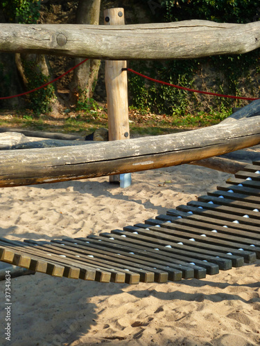 Wooden rope bridge on a playground