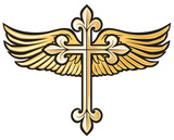 vector illustration of christian cross with wing