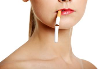 Face closeup with a cigarette.