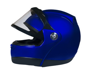 Motorcycle helmet with a raised glass. Dark blue