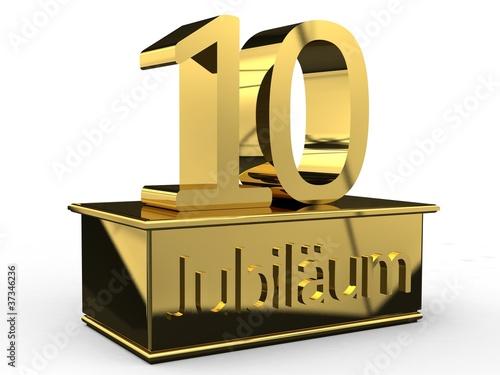 Jubiläum 10 Podest gold