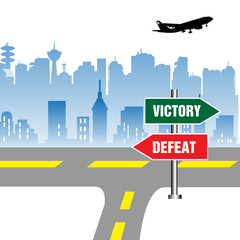 Victory and defeat directional signpost