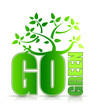 go green concept with tree illustration design on white