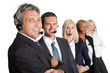 Businesspeople working in a call center