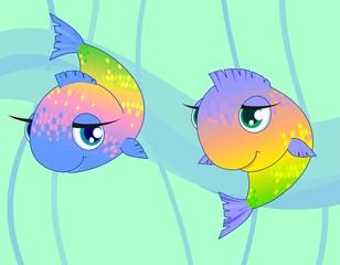 Две разноцветные рыбки