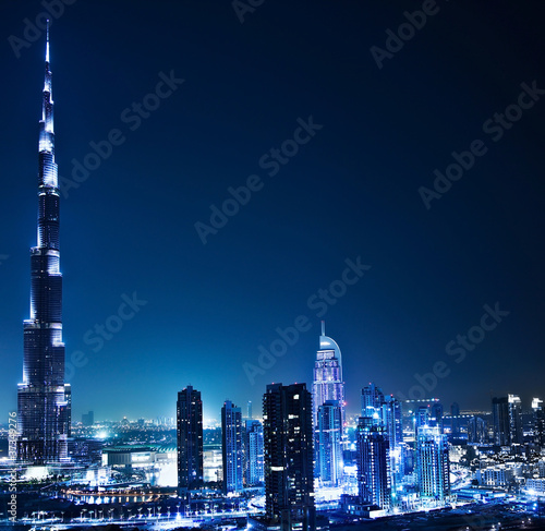 Fotobehang Midden Oosten Dubai downtown at night