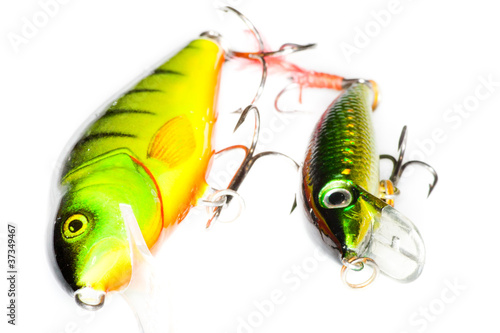 Isolated fishing baits on white background