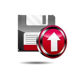 Icono disquete 3D con señal upload