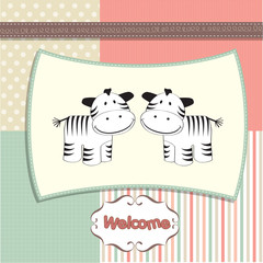 new baby twins arrived card with zebra