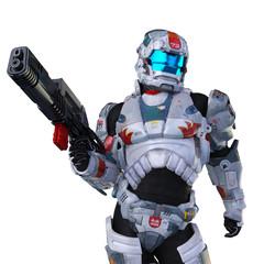 astronaut hero wit a gun