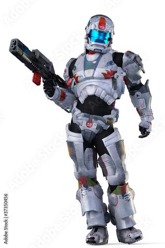 Leinwanddruck Bild astronaut hero wit a gun stand up