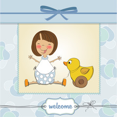 welcome baby card with girl and and her duck