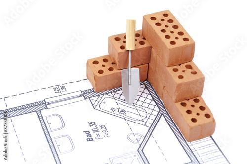 Ziegelsteine mit Plan