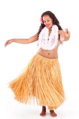 Young hula dancer enjoying her dance