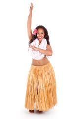 Young hula dancer posing