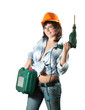 girl in hard hat with tool box  and drill