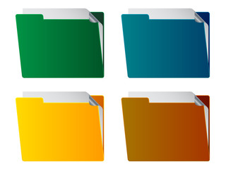 vector folders with paper sheet