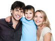 Happy young smiling family with son